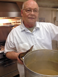 Larry with Pot of Hot Broth