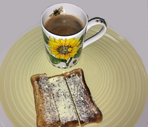 Hot Chocolate with Buttered Toast Sliced for Dipping