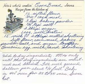 Lea's Cornbread Recipe Card