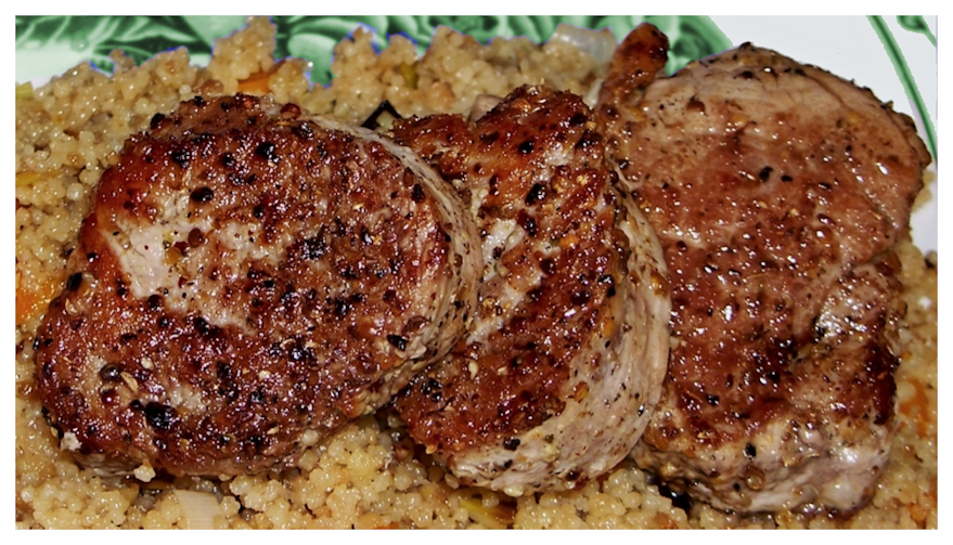 Seared pork tenderloin medallions