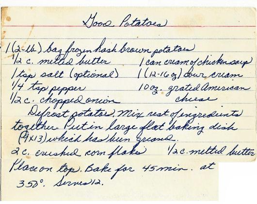 Leas Recipe Card Good Potatoes