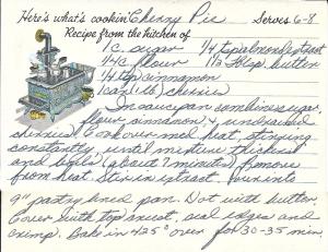1950s Cherry Pie Recipe Card