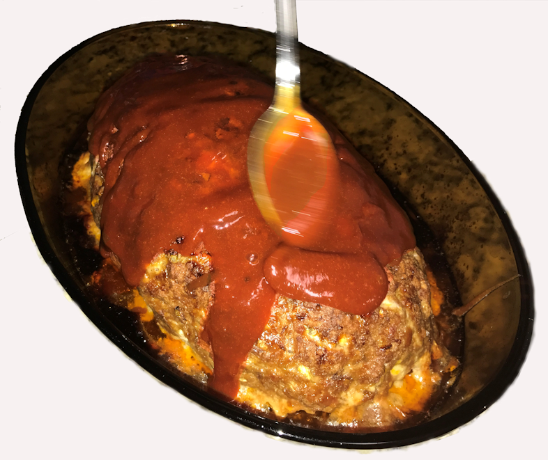 Saucing a baked meatloaf