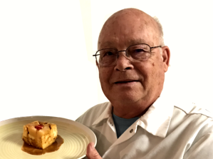 Larry with Pear Bread Pudding2_sml
