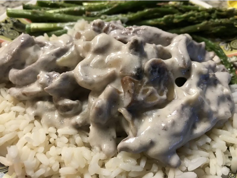 Beef Stroganoff with Steamed Asparagus